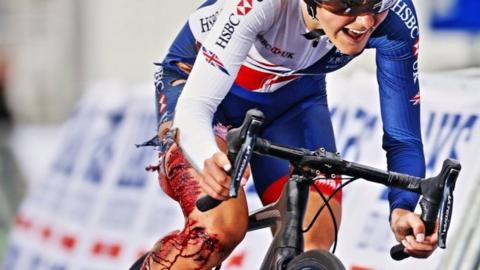 Lauren Dolan cycles to the finish line despite sustaining horrific leg injury