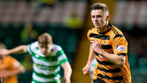 Calum Waters in action for Alloa against Celtic in last season's League Cup