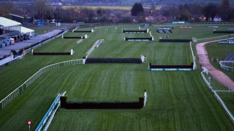 A view of the course ahead of the Grand National meeting at Aintree
