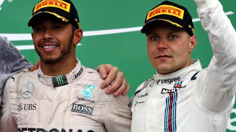 Nico Rosberg with Valterri Bottas