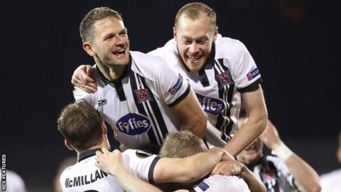 Dundalk celebrate a goal against Zenit St Petersburg in the Europa Leaguer
