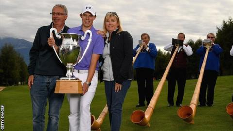 Fitzpatrick was joined by his father Russell and mother Sue at the Swiss course