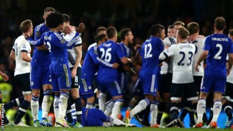 Chelsea and Tottenham players clash