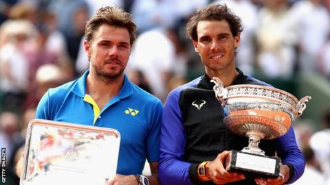 Rafael Nadal (r) and Stan Wawrinka