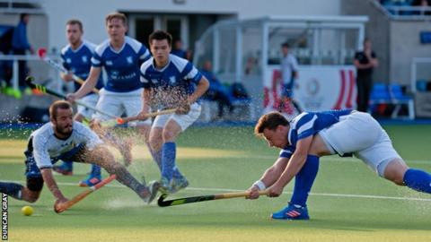 Alan Forsyth in action for Scotland's men's hockey team