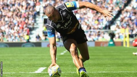 England's Jonathan Joseph scored Bath's try in the 'Clash' against Leicester at Twickenham