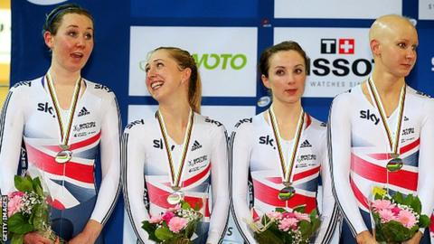 Katie Archibald, Laura Trott, Elinor Barker and Joanna Rowsell-Shand receive their silver medals at the 2015 World Championships