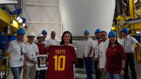 Francesco Totti's Roma shirt has been launched into space