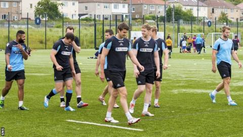 Glasgow Warriors players in training