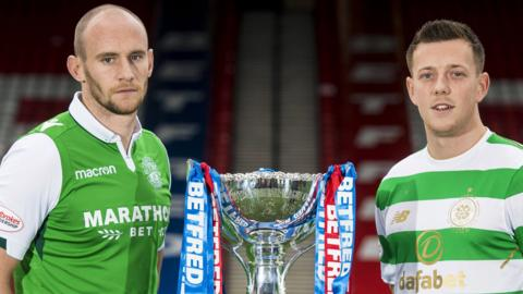 Hibernian captain David Gray and Celtic's Callum McGregor
