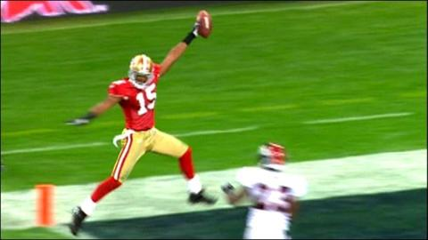 San Francisco's Michael Crabtree scores a touchdown at Wembley