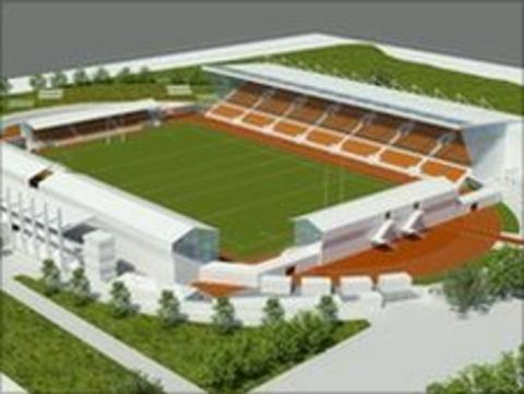 Artists impressions of the refurbished Copthall stadium