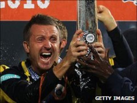 Hampshire captain Dominic Cork lifts the FP t20 trophy
