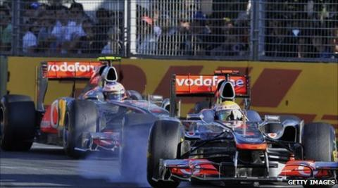 Lewis Hamilton and Jenson Button racing in Melbourne