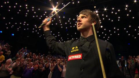Judd Trump salutes the Crucible after beating Ding Junhui in the semi-final