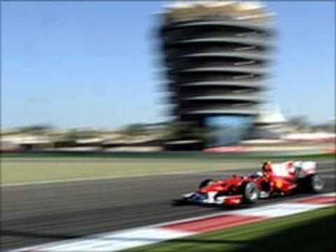Fernando Alonso on his way to victory in the 2010 Bahrain Grand Prix