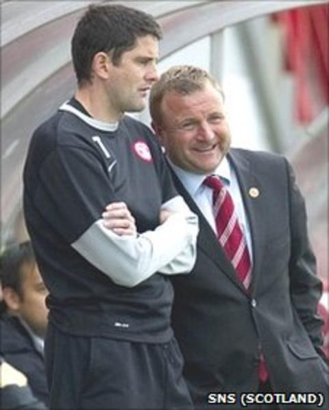 Hamilton assistant manager Stuart Taylor and manager Billy Reid