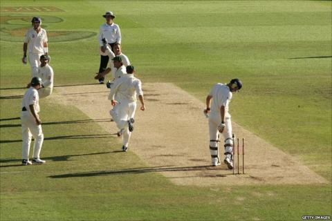 Andrew Flintoff is dismissed