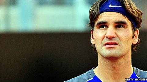 Roger Federer during his match with Richard Gasquet