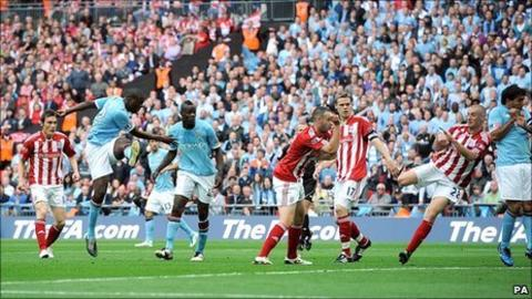 Yaya Toure smacks the ball in from 10 yards out to give City the lead