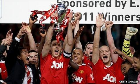 Manchester United's youngsters lift the FA Youth Cup at Old Trafford