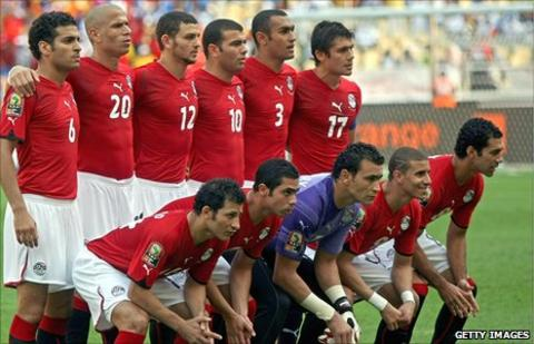 Egypt's players line up ahead of winning the 2010 Nations Cup final