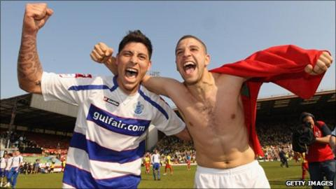 QPR's Moroccan midfielder Adel Taarabt (right)