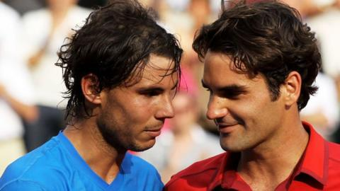 Rafa Nadal and Roger Federer following the final at Roland Garros