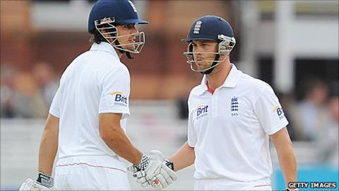 Alastair Cook (left) and Jonathan Trott each reached 50 for England
