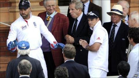 Matt Prior, accompanied by Andrew Strauss, apologises