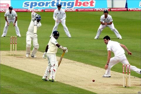 Kumar Sangakkara drives James Anderson down the ground