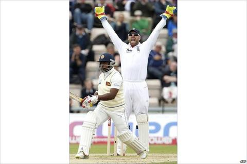 Matt Prior appeals for the wicket of Rangana Herath