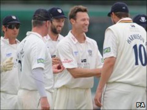 Callum Thorp takes his sixth wicket at Aigburth