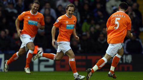 David Vaughan celebrates scoring against West Brom