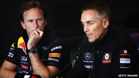 Christian Horner (lefT) and Martin Whitmarsh