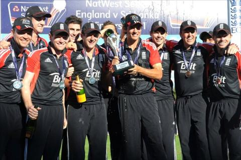 England celebrate their series win