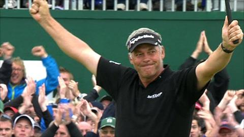 Darren Clarke celebrates winning the Open