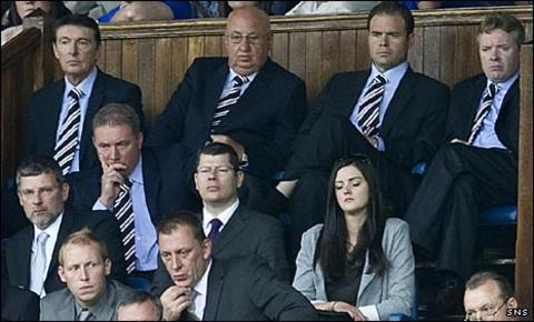 Ally McCoist and the Rangers directors look concerned