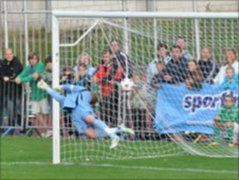 Guernsey FC's first ever goal scored by Ryan-Zico Black