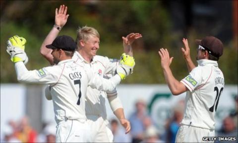 Lancashire celebrate a wicket