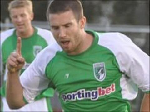 Ross Allen playing for Guernsey FC