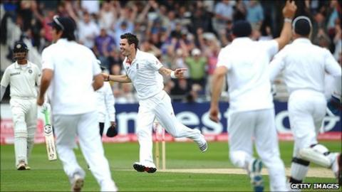 James Anderson celebrates after removing Abhinav Mukund with the first ball of India's innings