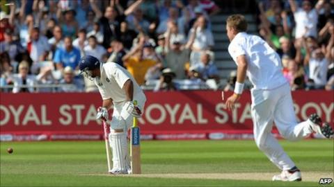 Stuart Broad completes his hat-trick by bowling Praveen Kumar