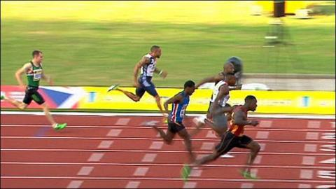 Dwain Chambers wins the 100m at the UK trials