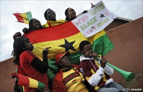 South African fans declare their support for Ghana after the Black Stars lost to Uruguay on penalties in the quarter final of the 2010 World Cup.