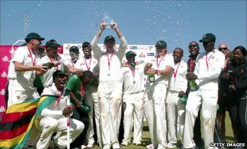 Zimbabwe celebrate winning their only Test against Bangladesh