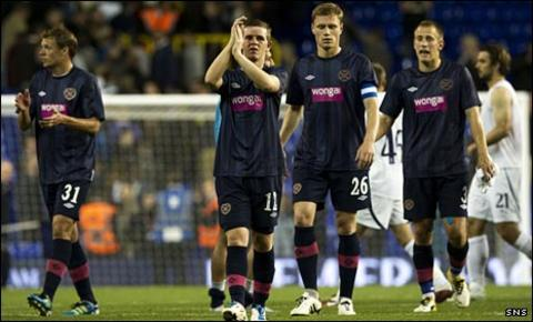 Hearts players thank their fans