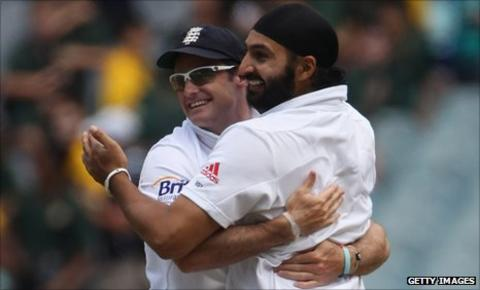 Monty Panesar (right) with England Test captain Andrew Strauss