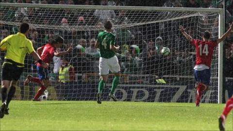 Marko Pantelic (left) celebrates after the ball hits the Northern Ireland net