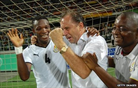 Milovan Rajevac celebrates in Ghana